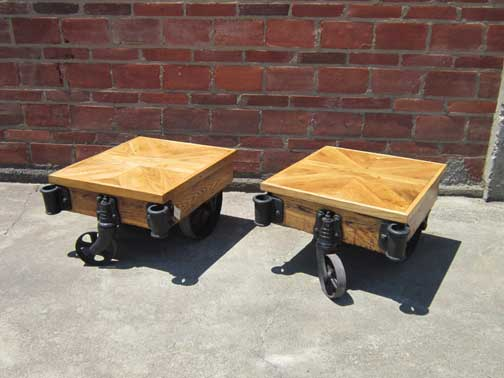 These Smaller Carts Are Perfect End Tables To Accompany Your Living Room Furniture With Tops Constructed From Reclaimed Wide Plank Oak Flooring