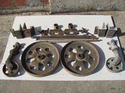 Complete sets of cast iron hardware  See detail. Antique Lineberry Furniture Factory Carts
